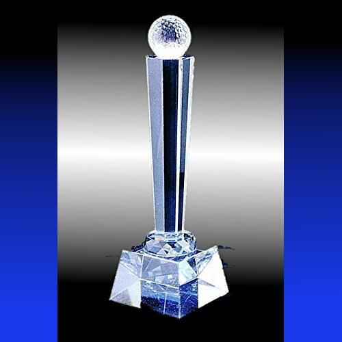クリスタルトロフィーAボール付き ゴルフ記念品 サッカー記念品 野球大会記念品 優勝トロフィー