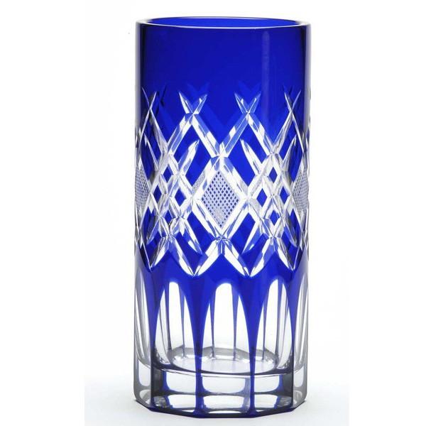 名入れ花瓶 江戸切子菱魚子文様花瓶 周年記念品新築祝開店祝い結婚祝い開業祝い退職祝い