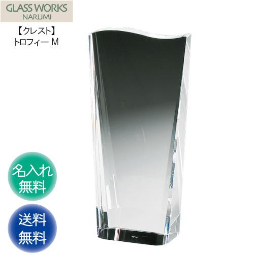 名入れ代込み ナルミ NARUMI 【クレスト トロフィーM 18cm】 GLASS WORKS 名入れ 贈答 記念品 表彰
