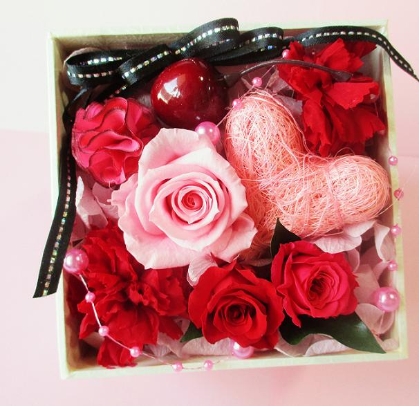 A Ki Flower Je Preserved Cherry BOX Birthday Gift Retirement Celebrated Preser Heart 60th
