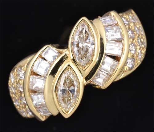 K18 マーキスカットダイヤモンド 0.47ctダイヤモンド1.02ct 18金 リング《送料無料!》