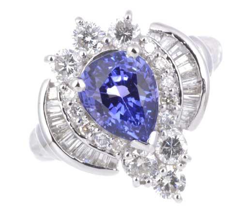 Pt タンザナイト 1.68ctダイヤモンド0.81ct プラチナ リング《送料無料!》