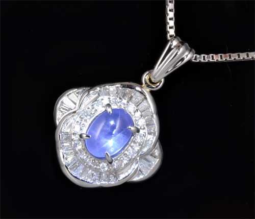 Pt スターサファイア 1.58ctダイヤモンド 0.38ct プラチナ ペンダントネックレス《送料無料!》
