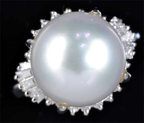 Pt 南洋真珠 11.9mmダイヤモンド0.37ct プラチナ リング《送料無料!》