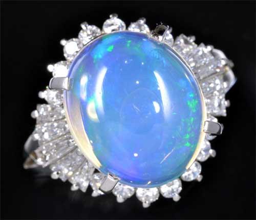 Pt メキシコオパール 4.18ctダイヤモンド0.74ct プラチナ リング《送料無料!》