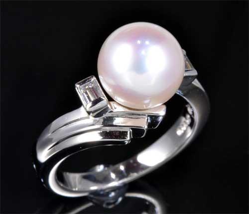 Pt アコヤ真珠 8.0mmダイヤモンド 0.10ct プラチナ リング《送料無料!》