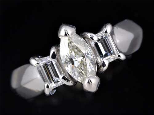 Pt マーキスカットダイヤモンド K-SI2 0.396ct脇石ダイヤ0.411ct プラチナ リング《送料無料!》