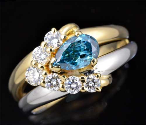K/P ブルートリートメントダイヤモンド 0.503ctダイヤモンド0.36ct 18金 プラチナ リング《送料無料!》