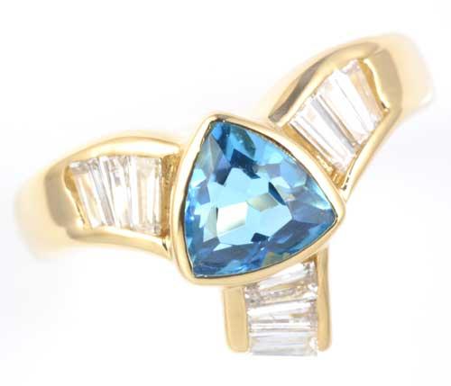 K18 ブルートパーズ 0.94ctダイヤモンド0.35ct 18金 リング《送料無料!》