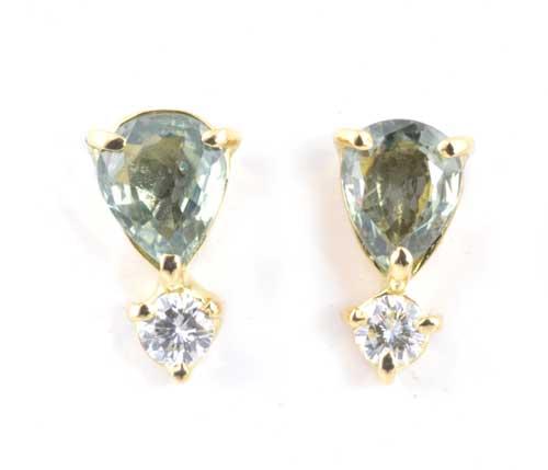 K18 グリーンサファイア 1.28ctダイヤモンド0.16ct 18金 ピアス《送料無料!》