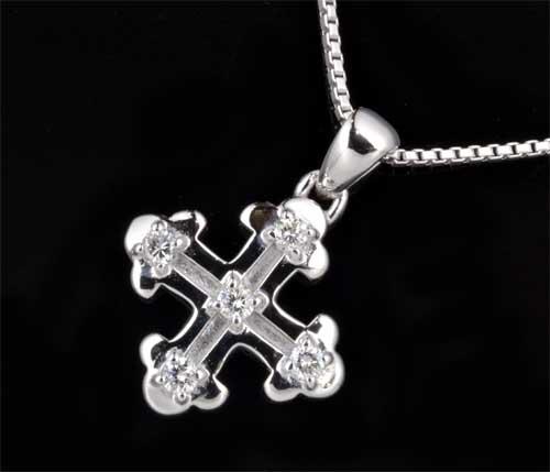 K18WG ダイヤモンド 0.23ctホワイトゴールド クロスペンダントネックレス《送料無料!》