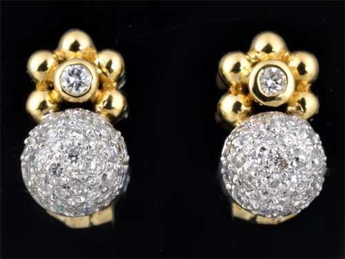 K/P ダイヤモンド 0.77ct18金 プラチナ イヤリング《送料無料!》