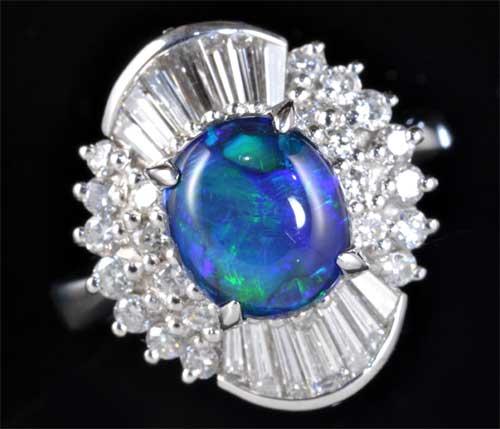 Pt ブラックオパール 1.70ctダイヤモンド0.80ct プラチナ リング《送料無料!》