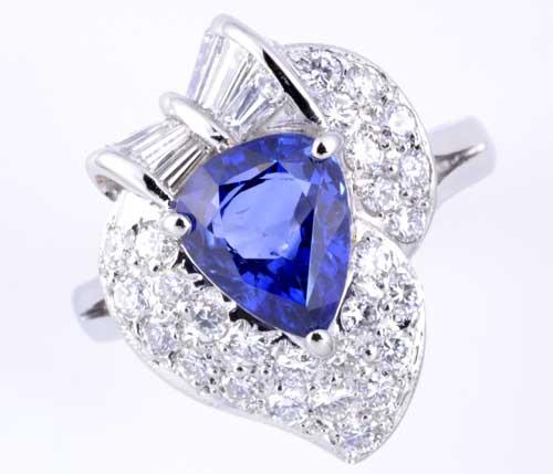 Pt サファイア 1.93ctダイヤモンド0.87ct プラチナ リング《送料無料!》