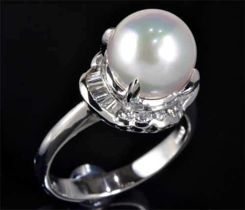 Pt アコヤ真珠 9.0mmダイヤモンド 0.30ct プラチナ リング《送料無料!》