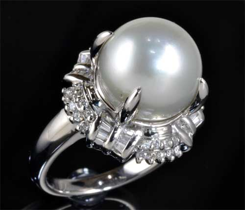 Pt 南洋真珠 11.9mmダイヤモンド0.52ct プラチナ リング《送料無料!》