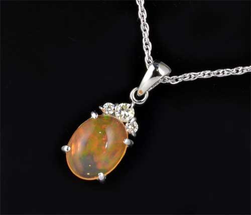 Pt メキシコオパール 2.55ctダイヤモンド0.21ct プラチナ ペンダントネックレス《送料無料!》