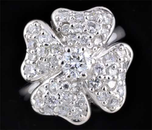 Pt ダイヤモンド 0.351ct F-SI1 Fair脇石ダイヤ1.19ct プラチナ リング《送料無料!》