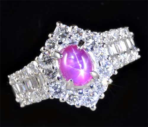 Pt スタールビー 1.08ctダイヤモンド0.90ct プラチナ リング《送料無料!》