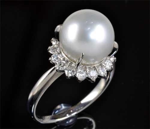 Pt アコヤ真珠 10.0mmダイヤモンド 0.416ct プラチナ リング《送料無料!》