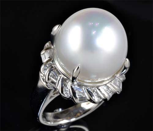 Pt 南洋真珠 15.9mmダイヤモンド0.58ct プラチナ リング《送料無料!》
