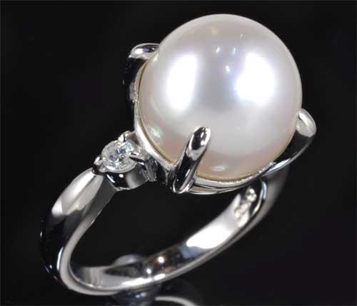 Pt 南洋真珠 12.2mmダイヤモンド0.155ct プラチナ リング《送料無料!》