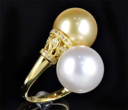 K18 ゴールデンパール 11.2mm 南洋真珠 11.4mmダイヤ0.17ct 18金 リング《送料無料!》