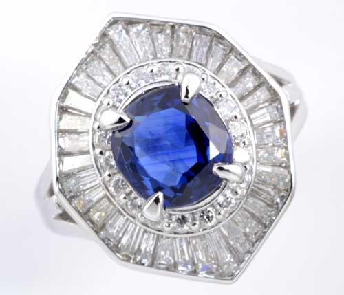 Pt サファイア 1.77ctダイヤモンド1.351ct プラチナ リング《送料無料!》