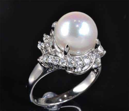 Pt アコヤ真珠 9.2mmダイヤモンド0.37ct プラチナ リング《送料無料!》