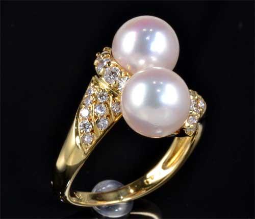 K18 アコヤ真珠 7.4mm・7.5mmダイヤモンド 0.40ct 18金 リング《送料無料!》