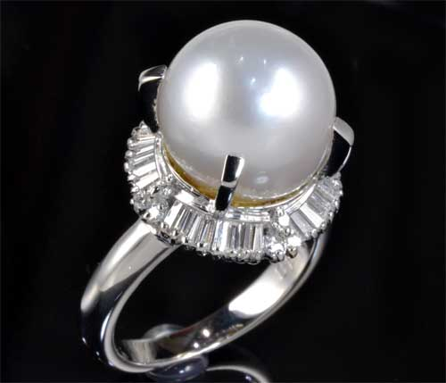 Pt 南洋真珠 11.3mmダイヤ0.48ct プラチナ リング《送料無料!》