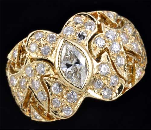 K18 マーキスカットダイヤモンド 0.32ctダイヤモンド0.50ct 18金 リング《送料無料!》