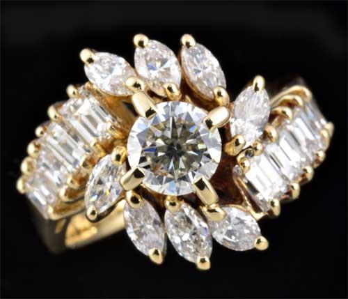 K18 ダイヤモンド 0.43ctマーキスカットダイヤモンド0.37ct 18金 リング《送料無料!》