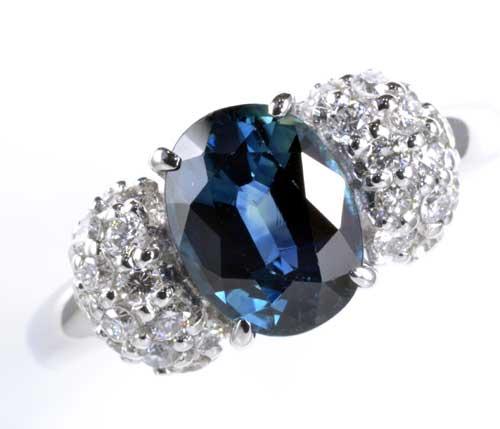 Pt サファイア 2.131ctダイヤモンド0.46ct プラチナ リング《送料無料!》