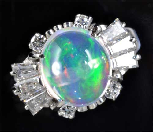 Pt メキシコオパール 1.93ctダイヤモンド0.59ct プラチナ リング《送料無料!》