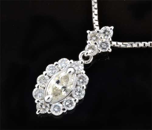 Pt マーキスカットダイヤモンド 0.317ctダイヤモンド0.69ct プラチナ ペンダントネックレス《送料無料!》