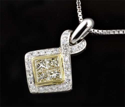 P/K ダイヤモンド 0.83ctプラチナ 18金 ペンダントネックレス《送料無料!》
