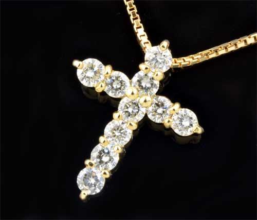 K18 ダイヤモンド 1.00ct18金 クロスペンダントネックレス《送料無料!》