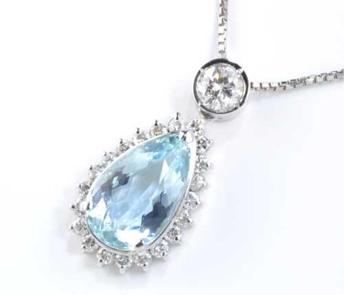 Pt アクアマリン 2.61ctダイヤモンド 0.69ct プラチナ ペンダントネックレス《送料無料!》