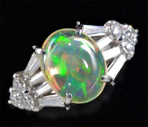 Pt メキシコオパール 1.25ctダイヤモンド0.46ct プラチナ リング《送料無料!》