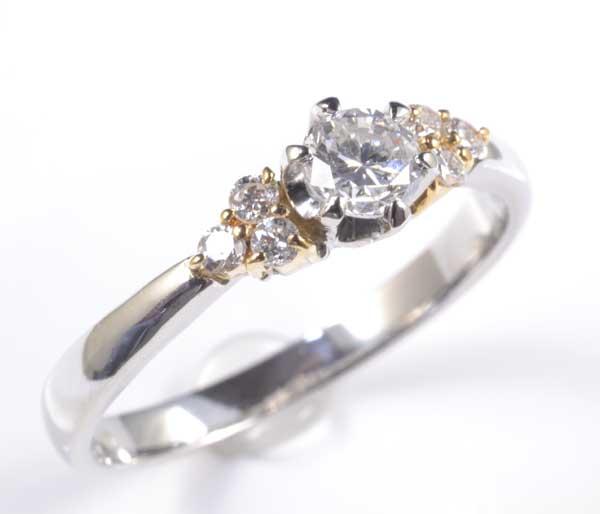 P/K ダイヤモンド 0.273ct G-SI2 Fair脇石ダイヤ0.11ct プラチナ 18金 リング《送料無料!》