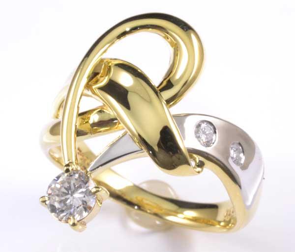 K/P ダイヤモンド 0.34ct 18金 プラチナ リング《送料無料!》