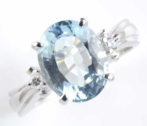 Pt アクアマリン 2.33ctダイヤモンド0.07ct プラチナリング《送料無料!》
