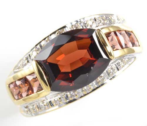 K/P ガーネット 3.85ctダイヤモンド0.10ct 18金 プラチナ リング《送料無料!》