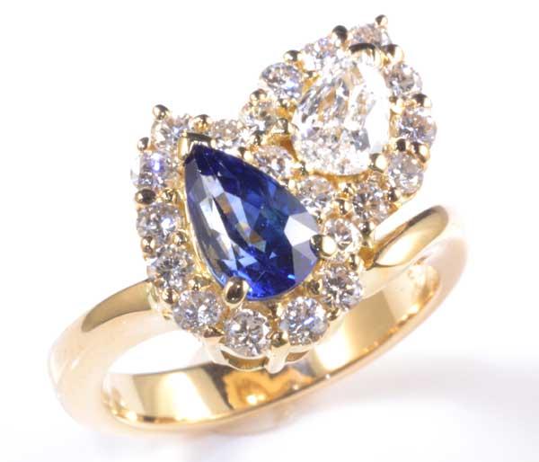 K18 サファイア 1.02ctダイヤモンド1.09ct 18金 リング《送料無料!》