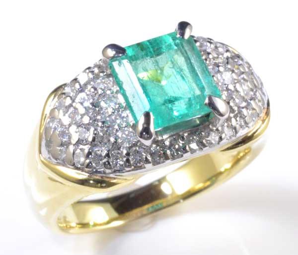 K/P エメラルド 2.01ctダイヤモンド0.77ct 18金 プラチナ リング《送料無料!》