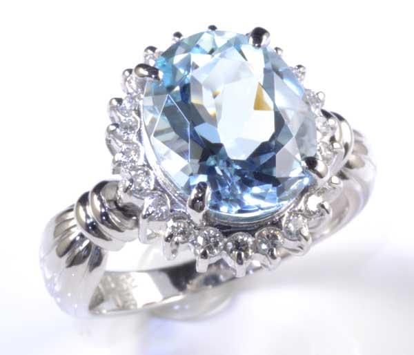 Pt アクアマリン 3.22ctダイヤモンド0.28ct プラチナ リング《送料無料!》