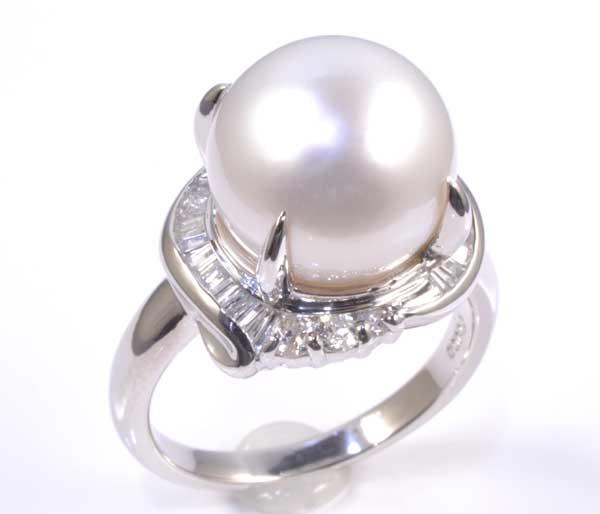 Pt 南洋真珠 11.0mmダイヤ0.43ct プラチナ リング《送料無料!》