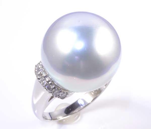 Pt 南洋真珠 15.9mmダイヤ0.26ct プラチナ リング《送料無料!》