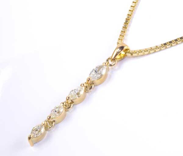 K18 マーキスカットダイヤモンド 1.10ct18金 ペンダントネックレス《送料無料!》